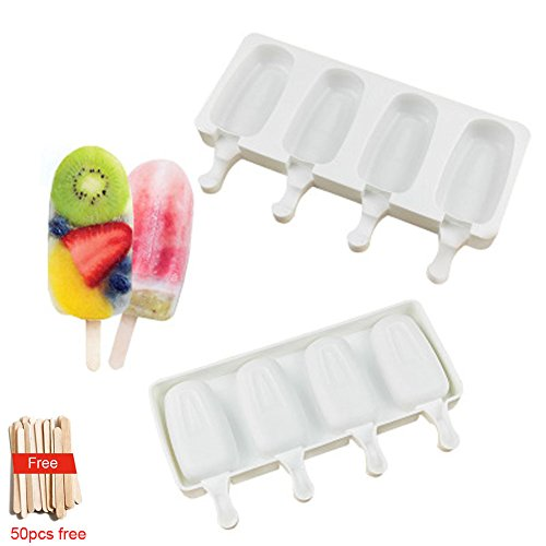 Ice Cream Bar Mold, Silicone Ice Pop Mold Popsicle Molds,DIY Ice Cream Maker with 50pcs Wooden Sticks ,Classic Oval,Non Stick,4 Cavities, Set of 1 - Oval Ice Cream Maker