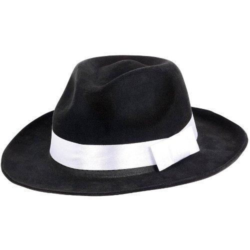 [Black Gangster Hat] (Gangster Hats For Sale)