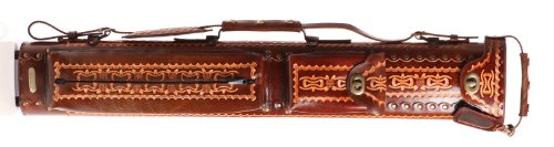 Instroke 2 Butt 4 Shaft Saddle Leather Cue Case Brown Airbrushed D06