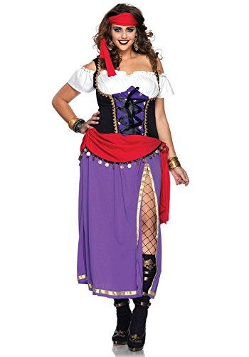 Leg Avenue Women's Traveling Gypsy Costume, Purple/Black, 1X-2X (Gypsy Princess Fancy Dress)