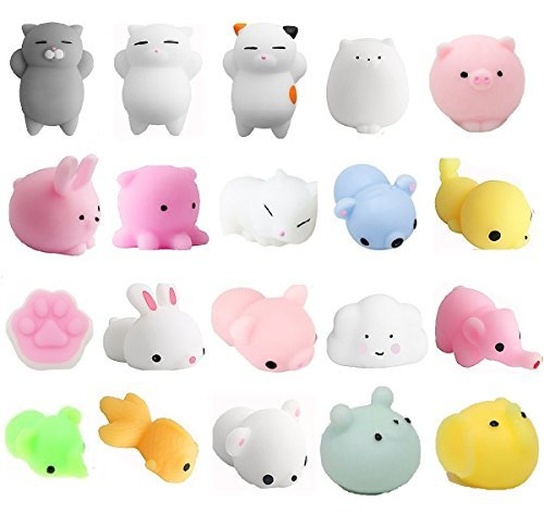 Aiboshi Mochi Squishy Toys, 20 PCS Mini Squishies Animals Stress Relief Squishys Stretchy Toy for Easter Basket Stuffers,Easter Egg Fillers,Easter Toys