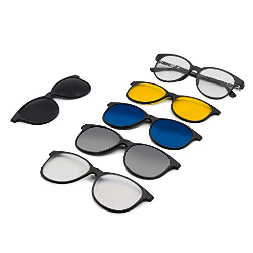 A&A Glasses 5 in 1 Magnetic Blue Block, Night Vision, Polarized Sunglasses Clip-ons for Women | Plastic Frame. Changeable to Computer Glasses, Night Vision Glasses and Sunglasses.