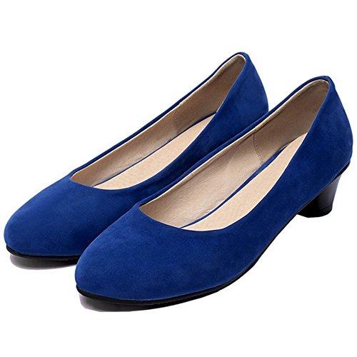 Taille Bloc Peu Basse Chaussures Enfiler Femme Bleu Mode A TAOFFEN 0wCn6SBqn