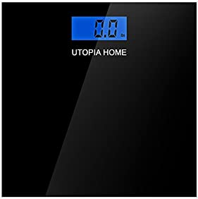 Digital Glass Bathroom Scale with Thick Tempered Glass - Utopia Home (Black)