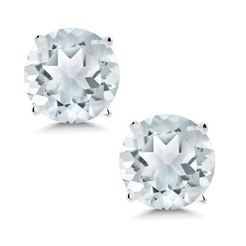 Gem Stone King 1.50 Ct Round 6mm Sky Blue Aquamarine 14K White Gold Stud Earrings ()