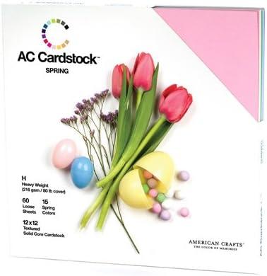 Pack of 60 Valentine American Crafts Seasonal Cardstock Pack 12 x 12-inch