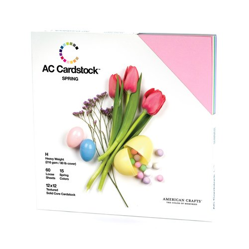 American Crafts 12-Inch by 12-Inch Cardstock Pack, Spring, 60-Page by American Crafts (Image #1)