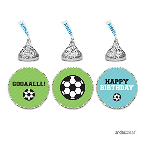 Andaz Press Birthday Chocolate Drop Labels Trio, Fits Hershey's Kisses Party Favors, Soccer Gooaalll!, 216-Pack ()