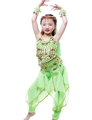 Astage Girls Oriental Belly Dance Sets All accessories Green L(Fits 8-10 Years) - Costumes For Indian Dances