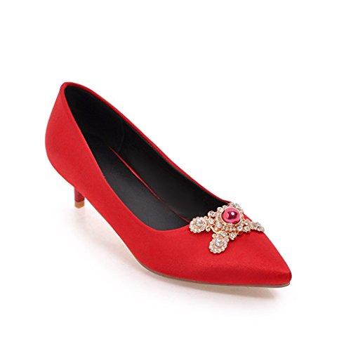 Punta elegante zapatos la de decorado tamaño del y metal solo en red novia ligero vista de rFwg4Rqar