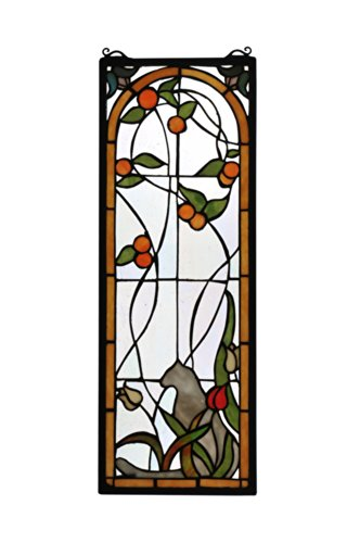 "Meyda Home Indoor Decorative Lighting Accessories 9""W X 25""H Cat & Tulips Stained Glass Window"