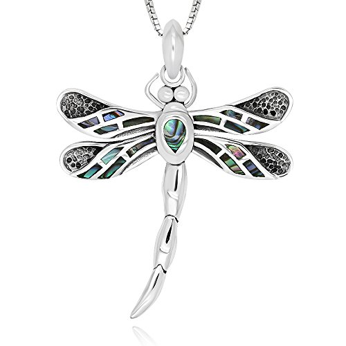 925 Sterling Silver Abalone Shell Dragonfly Movable Tail Pendant Necklace 18