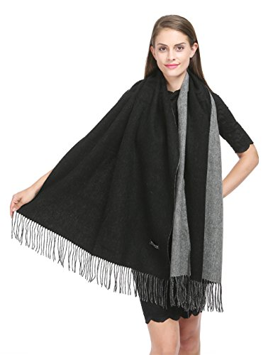 "Saferin 78""x28"" Cashmere and Wool Winter Shawl Wrap Scarf for Women With Gift Box (Black and Grey)"