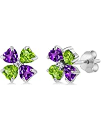 1.03 Ct Heart Shape Purple Amethyst Green Peridot 925 Sterling Silver Earrings