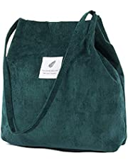 Corduroy Tote Bag,ZhengYue Women's Canvas Shoulder Handbags Schoolbag Big Capacity Shopping Bag,Printed Travel Cross Body Bag College Bookbag for Girls Ladies