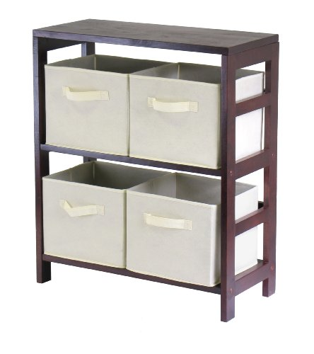 Storage Shelves Four (Winsome Wood Capri Wood 2 Section Storage Shelf with 4 Beige Fabric Foldable Baskets)