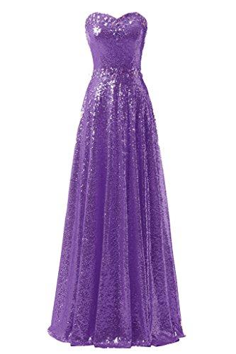 Ysmo Bling lentejuelas vestidos del baile de la mujer largo de noche para Party morado