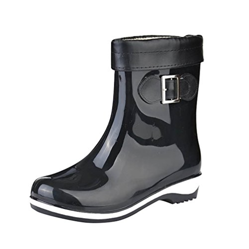 LvRao Mujeres Botas de Lluvia Nieve a Prueba de Agua | Botines Liso Zapatos de Goma Tacón Alto Negro
