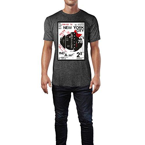 SINUS ART® New York City District Design Herren T-Shirts in dunkelgrau Fun Shirt mit tollen Aufdruck