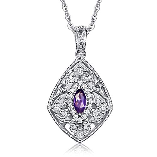 FANCIME 925 Sterling Silver Women Necklace with Natural Amethyst 0.58 ct Vintage Style Large Pendant - Length: 16 + 2 Inch
