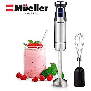 Mueller Austria Ultra-Stick 500 Watt 9-Speed Immersion Multi-Purpose Hand Blender Heavy Duty Copper Motor Brushed Stainless Steel Finish Includes Whisk Attachment, Silver