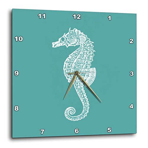 3dRose DPP_164965_1 Teal Blue Seahorse Print Sea Horse Ocean Marine Beach Aquarium Aquatic Wall Clock, 10 x 10