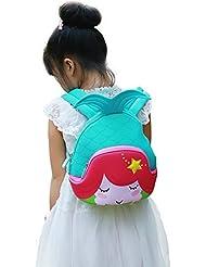 Nohoo Kids Mermaid Backpack 3D Cute Sea Cartoon School Girls twins Bags (3D-mermaid-blue)