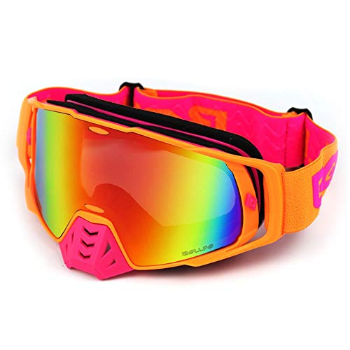 WAJJ Motorcycle Goggles, Motorcycle Off-Road Goggles Full Frame Wind-Proof Glasses Anti-Twisted Goggles ski Knight Equipment Convertible Glasses (Color : A)