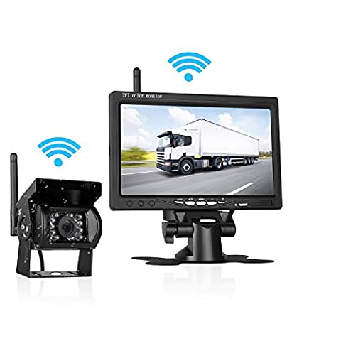 LeeKooLuu Backup Camera Wireless Built in and 7 Display Monitor Kit Reverse camera Parking system Working distance range over 100 ft Waterproof Night Vision for Truck/Van/Trailers/Campe - Rear View Backup Camera System