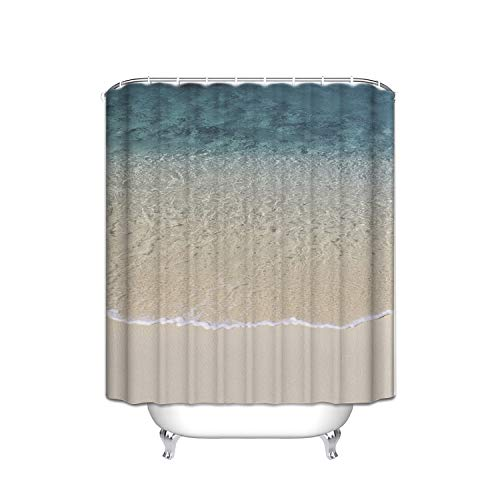 - ATOLY The Strongest Mildew Shower Curtain On The Market is 100% and Waterproof, 72(W) X 80(L), Blue Yellow Tropical Ocean