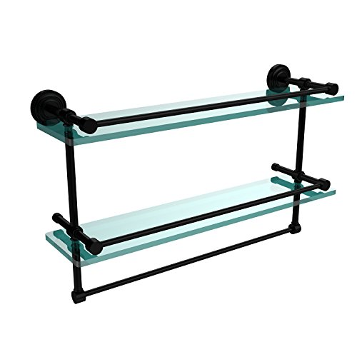 Allied Brass DT-2TB/22-GAL-BKM Dottingham 22 Inch Gallery Double Glass Shelf with Towel Bar Matte Black by Allied Precision Industries (Image #1)