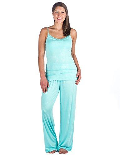(Womens Cool Knit Camisole Lounge Set - Aqua - Large)