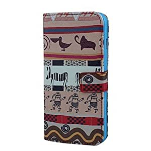 YULIN The PrimitiveTribe Pattern PU Leather Full Body Case with Card Holder for iPhone 6