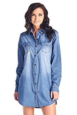 Blue Age Womens Chambray Denim Shirt Blouse Denim Tops
