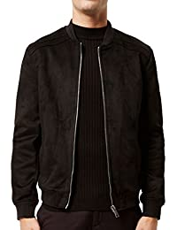 Men's Jacket Baseball Suede Leather Flight Jacket Vintage Bomber Biker Jacket