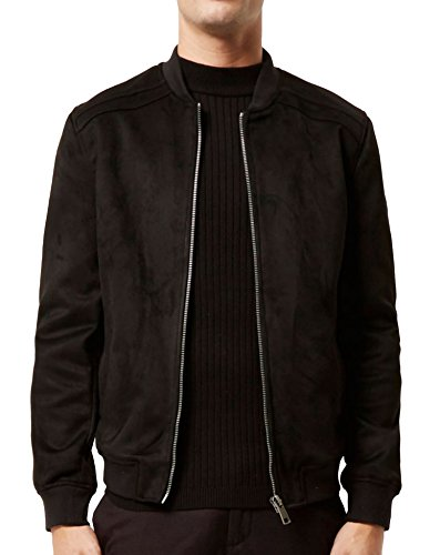 Hotouch Mens Outerwear Zipper Solid Heavyweight Suede Fleece Jacket (Black - Jacket Wash Suede
