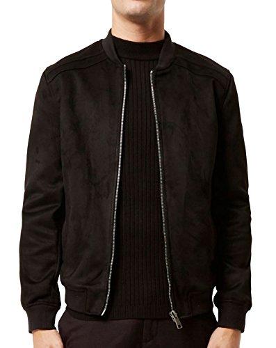 Hotouch Men's Coat Fleece Chamois Leather Jacket With Slant Pocket (Black XXL) (Suede Leather Fleece)