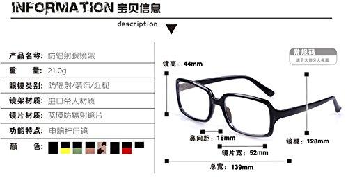 véritable rayonnement verres pour les hommes et les femmes une boîte informatique informatique lunettes miroir rétroviseur multifonctionnelle marée cadre et green jambe noire