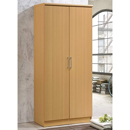 Pemberly Row 2 Door Armoire with 4 Shelves in Beech