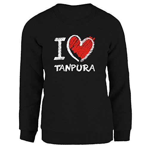 Idakoos I Love Tanpura Chalk Style Musical Instrument Womens Sweatshirt