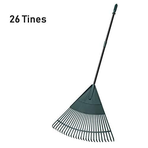 Plastic Head,Poly Shrub Rake,26 Tines,43 to 66 inches ORIENTOOLS Garden Leaf Rake Adjustable Lightweight Steel Handle Silver Handle Comfortable Grip Handle