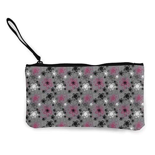 Canvas Coin Cash Purse Vibrant Colored Blossoms Antique Retro Change Pencil Bag Zipper Purse Wallet ()
