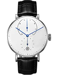 Epozz Mens Swiss Automatic Movement Watch Black Leather strap Watches