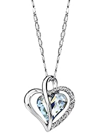 Neoglory Jewelry Fashion Crystal Heart Shaped Blue Pendant Necklace Gift 20 inches Embellished with Crystals from Swarovski