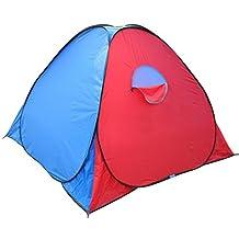 Ezyoutdoor 2 Person Folding Pop Up Tent Four Seasons Fiberglass For Camping Hiking Tent Hiking Tent 79x79x58'' with Pad Mat,Random Color