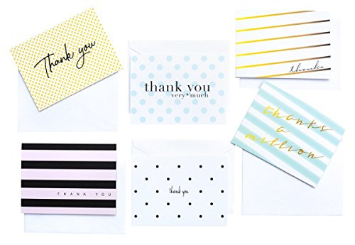 Modern Chic Thank You Cards and Envelopes | 36 Thank You Notes / Note Cards | Cute Polka Dot Striped Originals by Luxye | For Bridal & Baby Shower, Wedding, Business & more (Assorted)