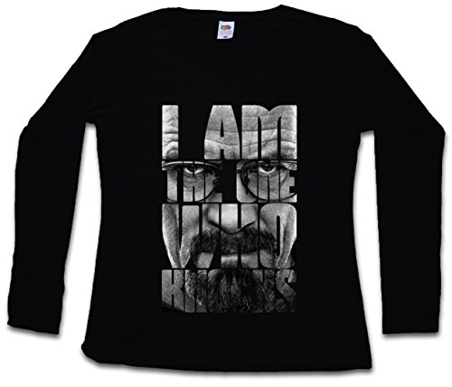 I AM THE ONE WHO KNOCKS DAMEN GIRLIE LANGARM T-SHIRT - Breaking Heisenberg White Walter Bad T-Shirt Größen S - 5XL