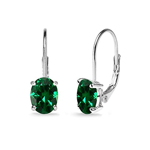 Sterling Silver Simulated Emerald 7x5mm Oval Solitaire Dainty Leverback Earrings