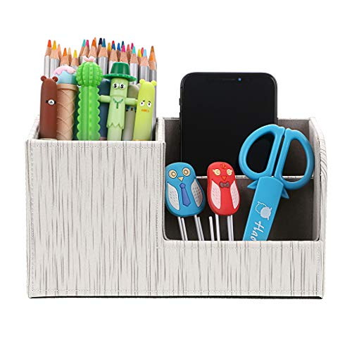 BTSKY Linen Desk Organizer Pen/Pencil Holder Remote Control/Cell Phones/Brushes Holder Office Home Accessories Container Storage Box (Linen White)