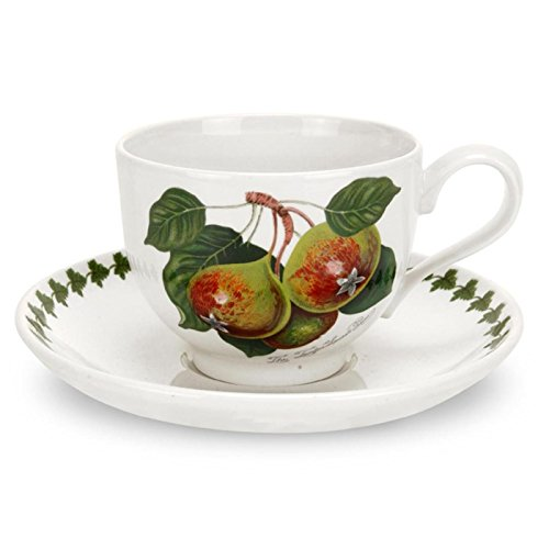 Portmeirion Pomona Traditional Shape Teacup and Saucer, Set of 6 Assorted Motifs - Fruit Saucer Set